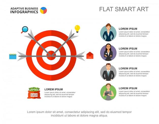 Cztery strzałki w docelowym szablonie wykresu procesu do prezentacji. dane biznesowe. Darmowych Wektorów