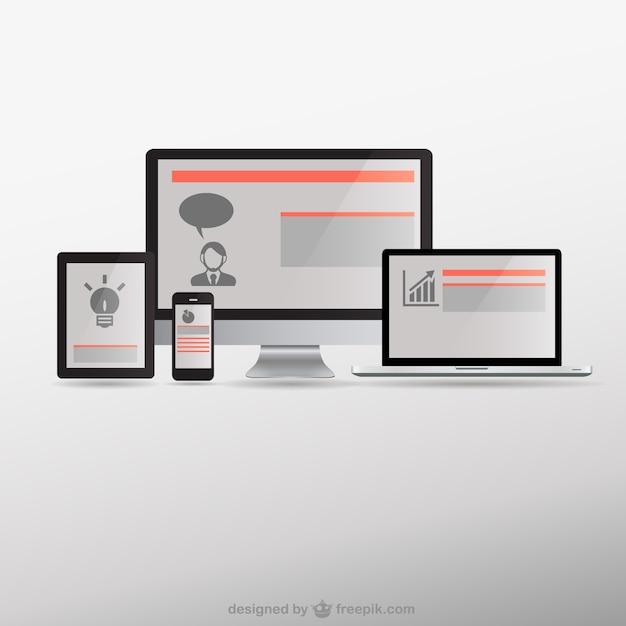 Czułe urządzenia elektroniczne web design Darmowych Wektorów