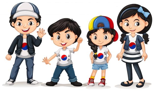 Czworo Dzieci Z Korei Południowej Darmowych Wektorów