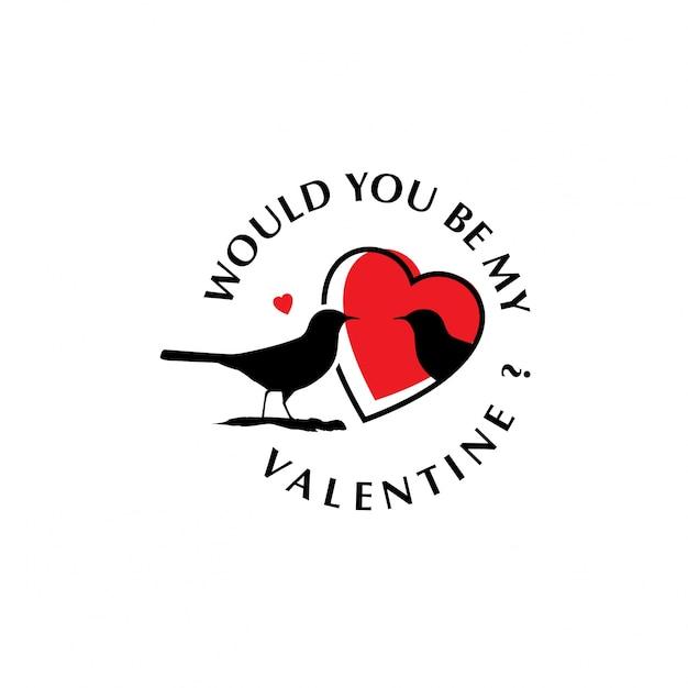 Czy Byłbyś Moją Walentynką Z Ptakami? Darmowych Wektorów