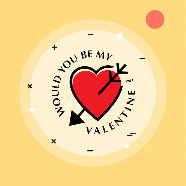 Czy Byłbyś Moją Walentynką Z żółtym Tłem I Sercem? Darmowych Wektorów