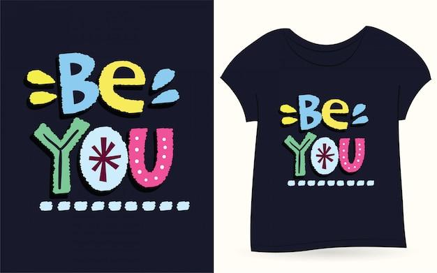 Czy jesteś ręcznie rysowane typografii na koszulkę Premium Wektorów