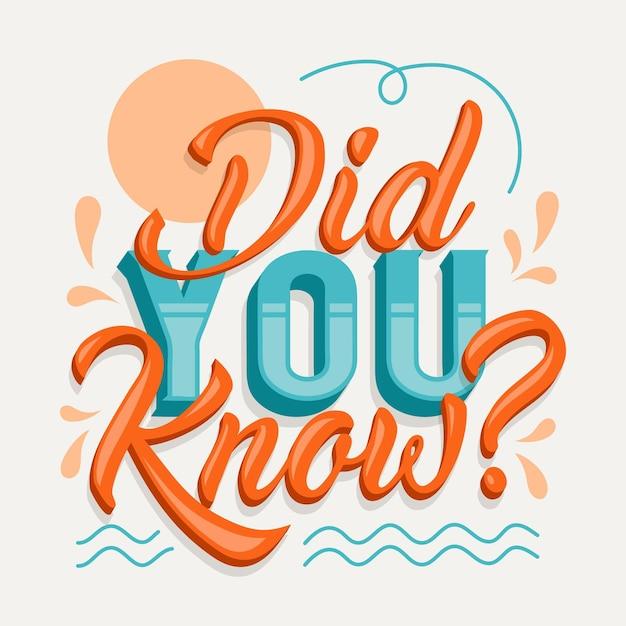 Czy Wiedziałeś...? Koncepcja Napisu Darmowych Wektorów