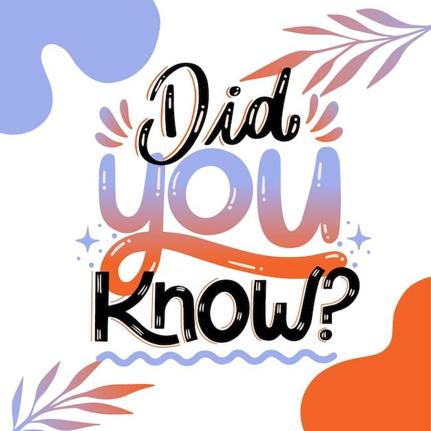 Czy Wiedziałeś...? Literowanie Premium Wektorów