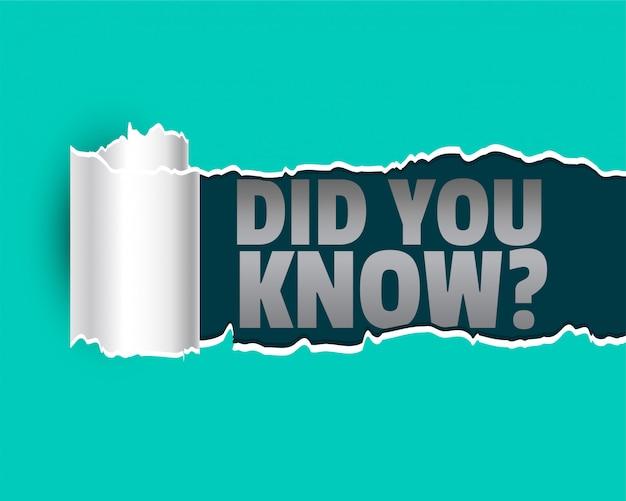 Czy Wiedziałeś W Stylu Rozdartego Papieru Darmowych Wektorów