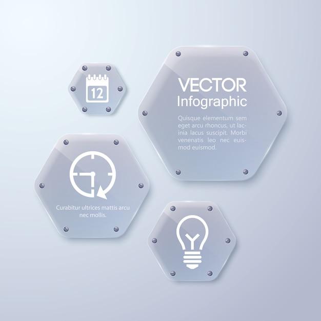Czysta Szklana Rama, Kształt Sześciokąta, Szablon Biznesowy Infografika Premium Wektorów