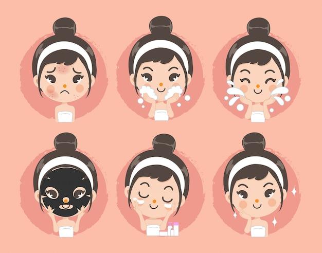 Czysta twarz i leczenie trądziku przez słodkie dziewczyny. Premium Wektorów