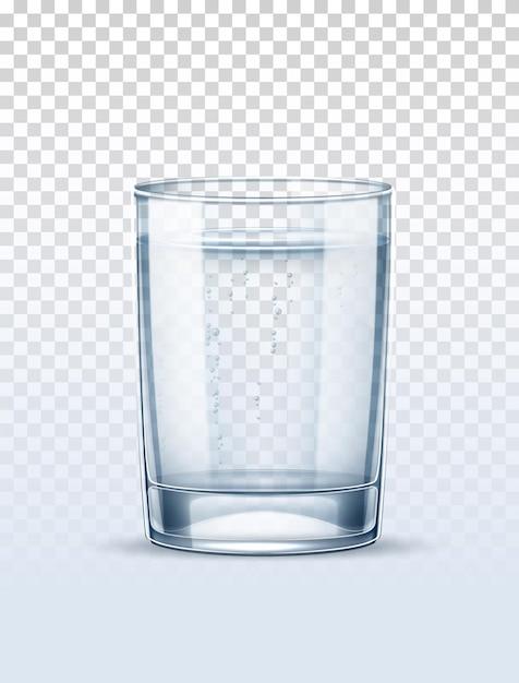 Czysta Woda Z Bąbelkami Szkła Na Przezroczystym Tle. Premium Wektorów