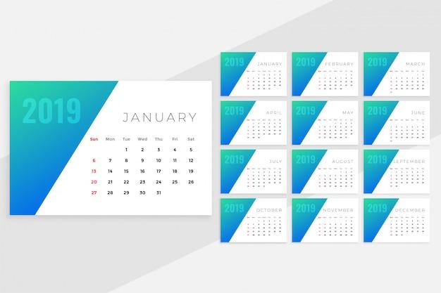 Czysty minimalny niebieski miesięczny projekt kalendarza na rok 2019 Darmowych Wektorów