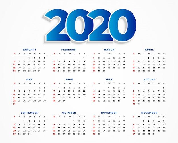 Czysty szablon kalendarza 2020 Darmowych Wektorów
