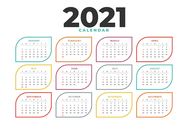 Czysty Szablon Kalendarza Nowego Roku Darmowych Wektorów