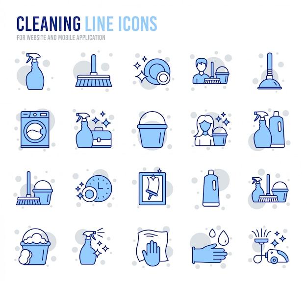 Czyszczenie ikon linii. pranie, gąbka i odkurzanie. Premium Wektorów