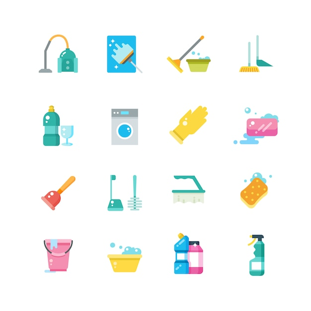 Czyszczenie usług domowych i narzędzi gospodarstwa domowego na białym tle płaskie ikony wektorowe Premium Wektorów