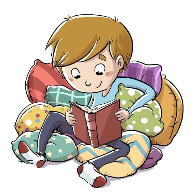 Czytanie chłopca Premium Wektorów