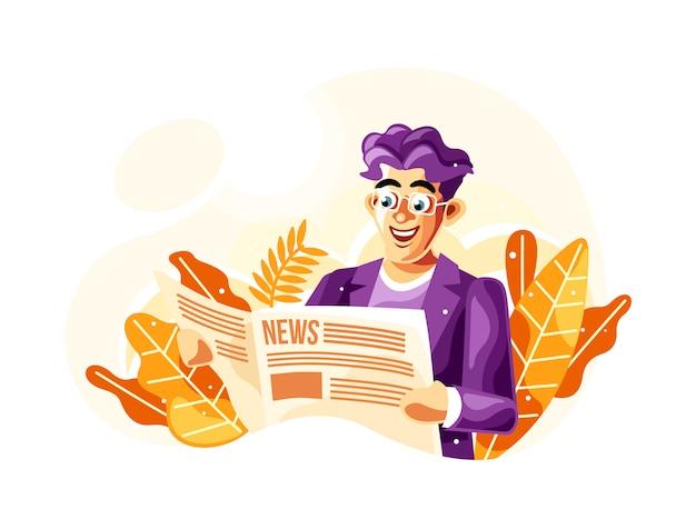 Czytanie Gazety Ilustracji Wektorowych Z Nowym Stylu Kreskówka Wektor Premium Wektorów