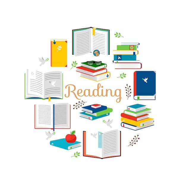 Czytanie Koncepcja Z Izometryczny Styl Książek Wektorowe Ikony Premium Wektorów