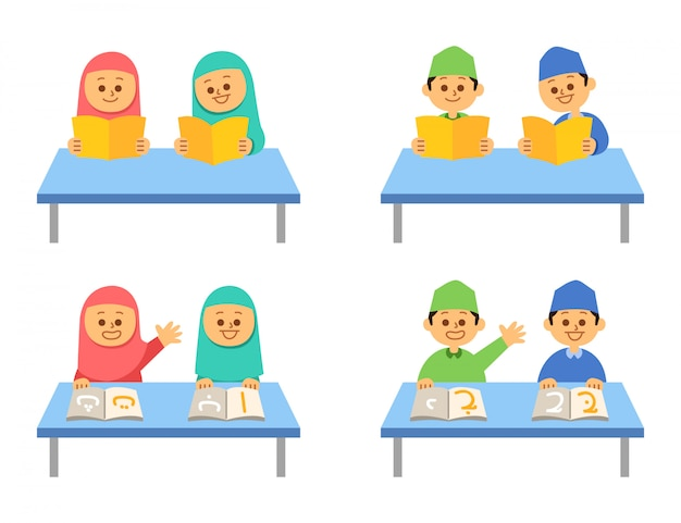 Czytanie Książki Islamskich Dzieci Płaski Zestaw Znaków Premium Wektorów