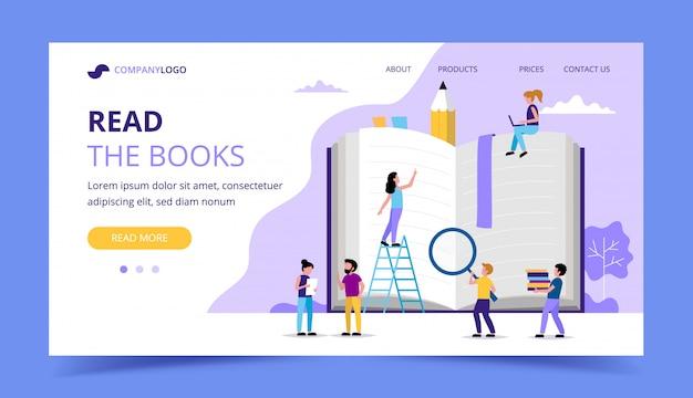 Czytanie strony docelowej, postacie małych ludzi wokół dużej książki. Premium Wektorów