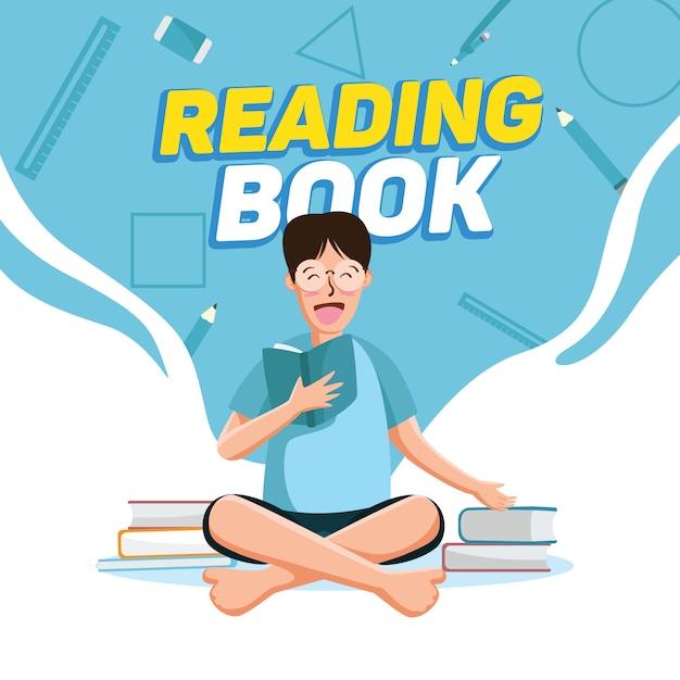 Czytanie Tła Książki Premium Wektorów