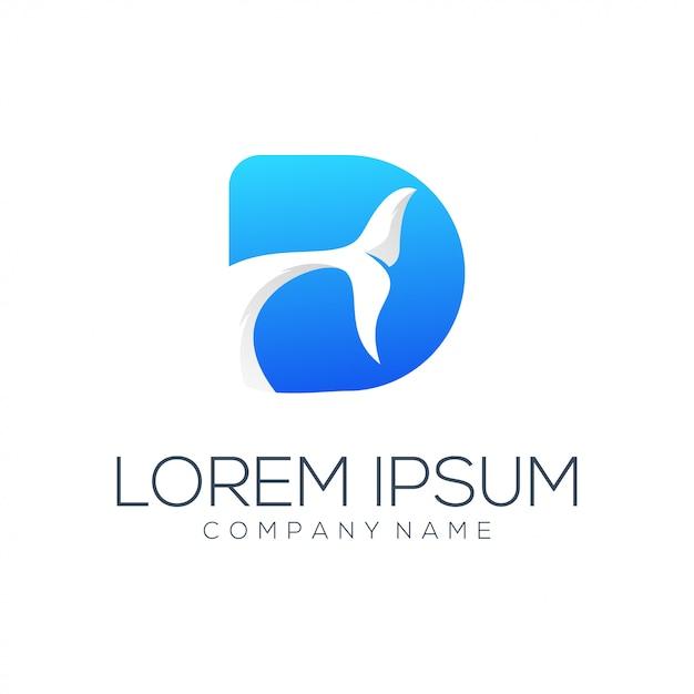 D List Delfin Logo Projekt Wektor Streszczenie Premium Wektorów
