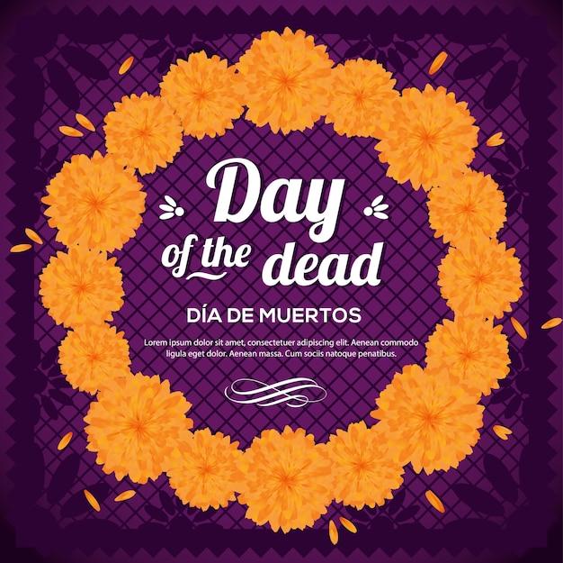 Da De Muertos (dzień Zmarłych W Języku Hiszpańskim) Wieniec Kwiatowy - Kompozycja Przestrzeni Kopii Premium Wektorów