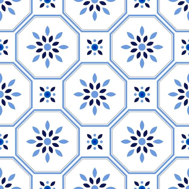 Dachówkowy Wzór, Kolorowy Dekoracyjny Kwiecisty Bezszwowy Tło, Piękna Ceramiczna Tapetowa Wystroju Wektoru Ilustracja Premium Wektorów