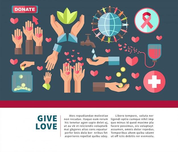 Daj Miłość Ofiarować Agitacyjny Plakat Do Przyłączenia Się Do Organizacji Charytatywnej Premium Wektorów