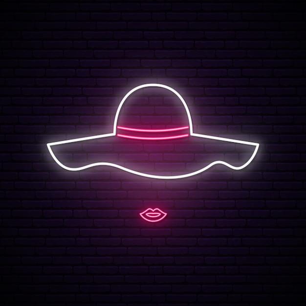 Dama Z Kapeluszowym Neonowym Znakiem. Premium Wektorów