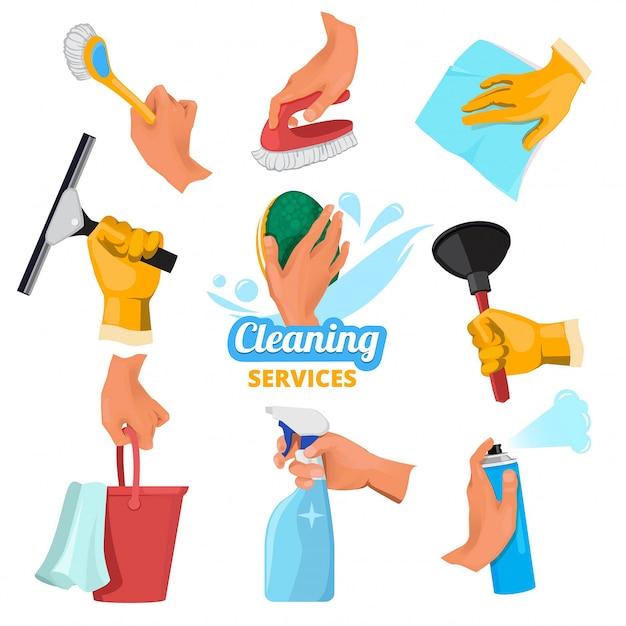 Damskie dłonie z różnymi narzędziami do czyszczenia Premium Wektorów
