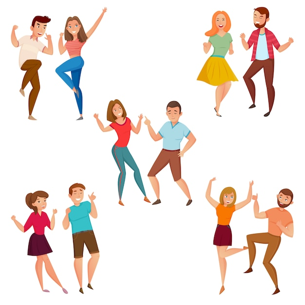 Dancing People 5 Ikon Kompozycja Premium Wektorów