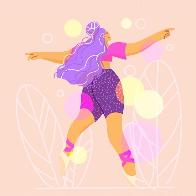 Dancing Young Woman, Choreografia, Taniec Nowoczesny. Premium Wektorów