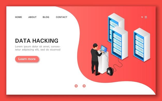 Dane Hakerskie. Koncepcja Transparent W Płaskim Widoku Izometrycznym. Premium Wektorów