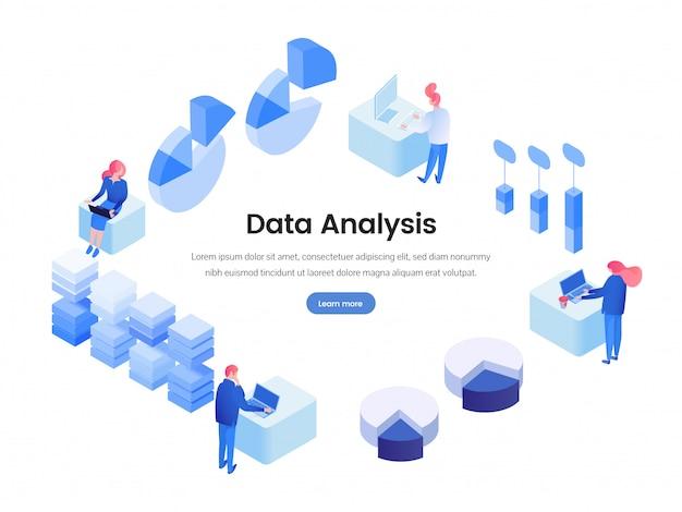Dane, izometryczna strona docelowa analizy biznesowej Premium Wektorów