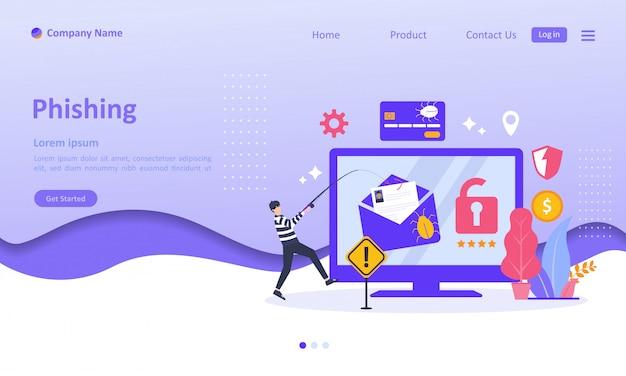 Dane Kradzieży Online Landing Page Premium Wektorów