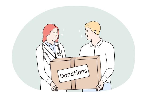 Darowizna, Dobroczynność, Koncepcja Pomocy Humanitarnej. Młoda Kobieta Lekarz I Mężczyzna Wolontariuszy Postaci Z Kreskówek Stojących I Trzymających Duże Pudełko Z Darowiznami W Ręce. Wolontariat, Wsparcie, Pomoc Premium Wektorów