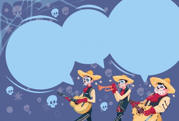 Day of dead tradycyjne meksykańskie halloween holiday party decoration banner zaproszenie grupa skeleton play guitar Premium Wektorów