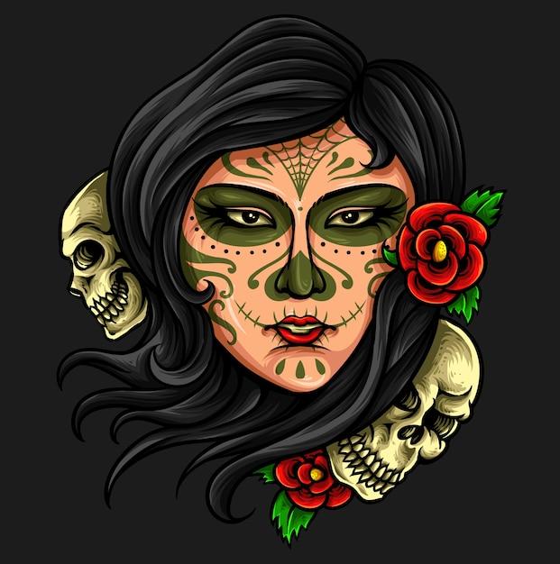 Day Of The Dead Sugar Skull Premium Wektorów