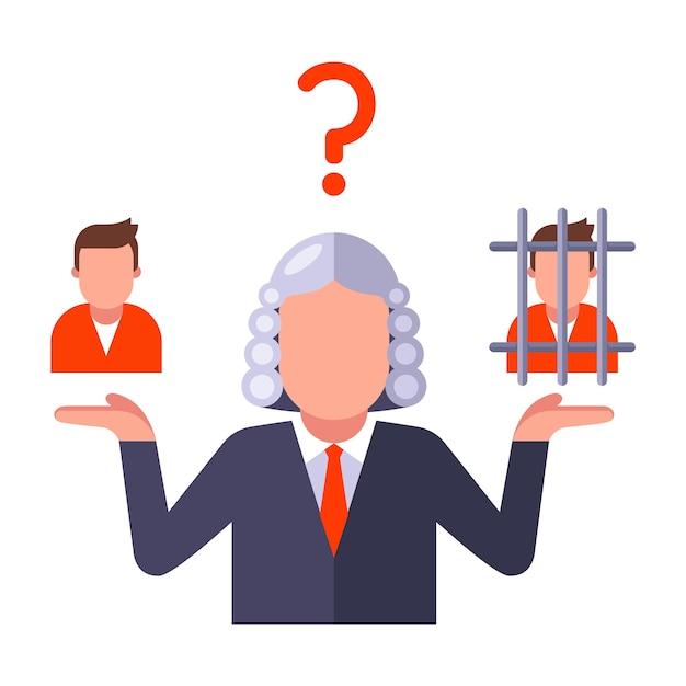 Decyzja Sędziego O Winie Osoby Wydaje Orzeczenie Na Oskarżonym Płaskim Ilustracji Wektorowych Na Białym Tle Premium Wektorów