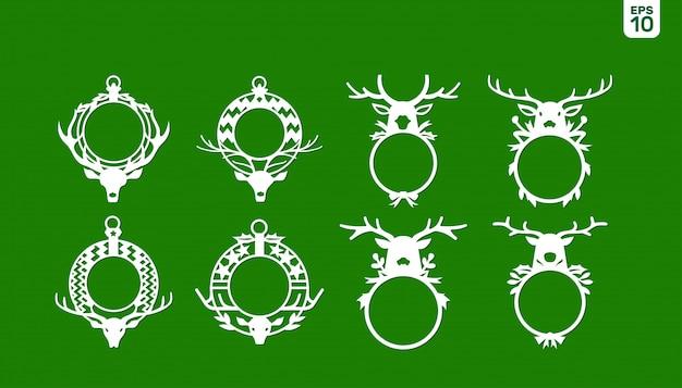 Deer antler christmas monogram frame for christmas holidays Premium Wektorów