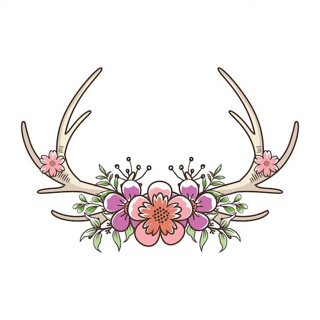 Deer poroże kwiatowy Premium Wektorów
