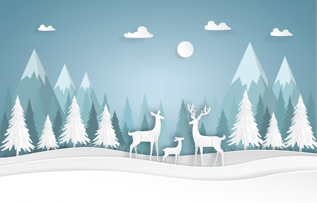 Deers rodzina w lesie Premium Wektorów