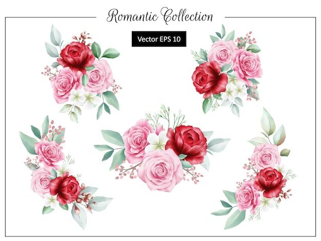 Dekoracja bukietem romantycznych kwiatów na elementy weselne lub z życzeniami Premium Wektorów