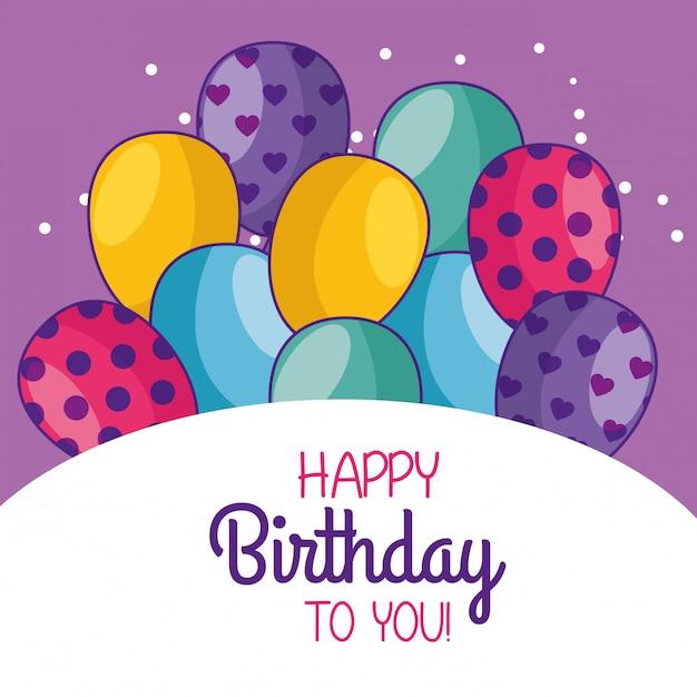 Dekoracja karty z okazji urodzin z balonami Darmowych Wektorów