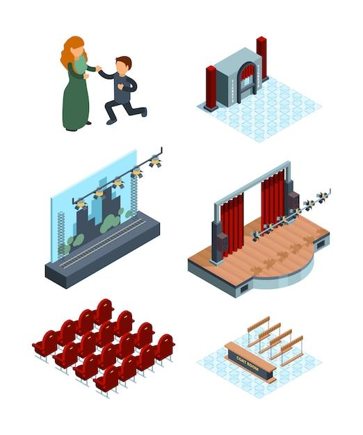 Dekoracja Sceny Teatralnej. Izometryczne Wnętrze Sali Operowej Lub Baletowej Teatr Sadza Aktorów Czerwone Zasłony Zdjęcia Premium Wektorów