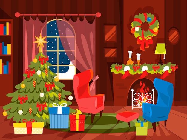 Dekoracja świąteczna, Salon Z Choinką. Pudełko Pod Choinkę. Ilustracja W Stylu Kreskówki. Premium Wektorów