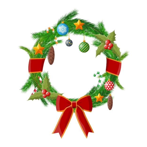 Dekoracja świąteczna Wieniec Premium Wektorów