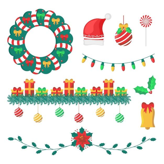 Dekoracje świąteczne W Płaskiej Konstrukcji Darmowych Wektorów