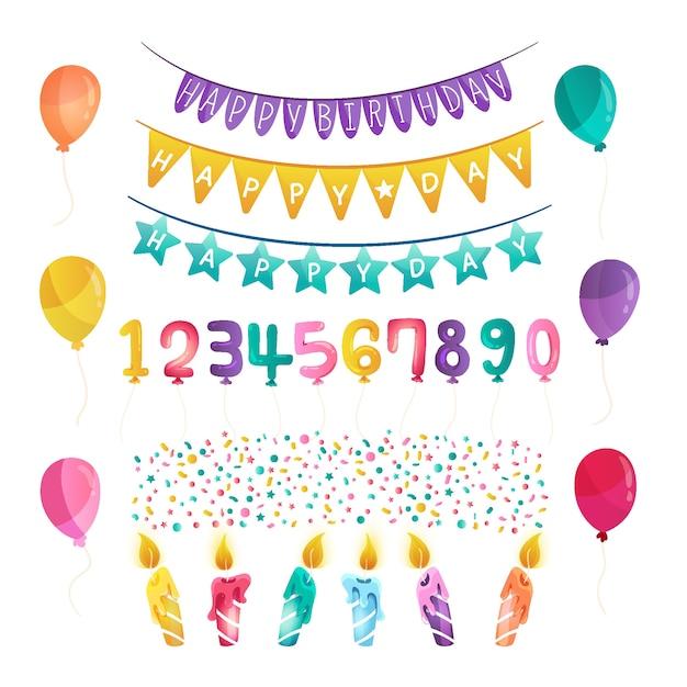 Dekoracje Urodzinowe I Balony Darmowych Wektorów