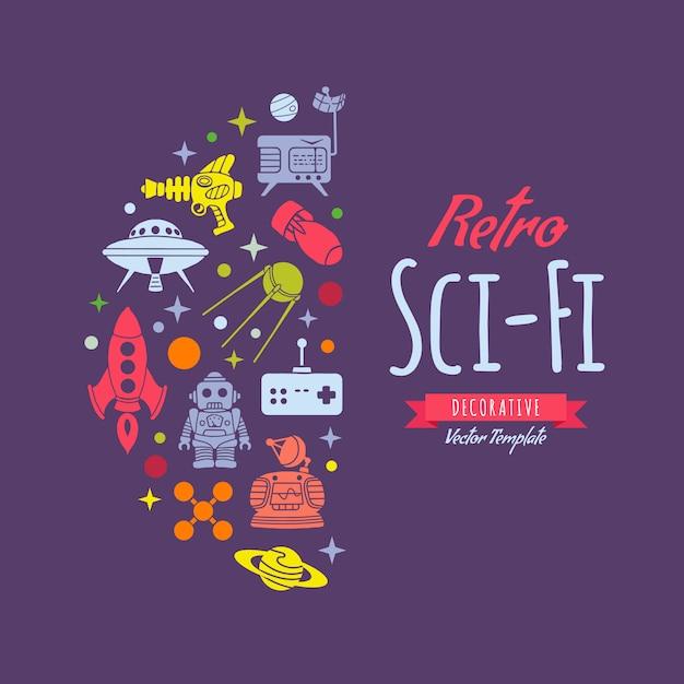 Dekoracje W Stylu Retro Sci-fi Premium Wektorów