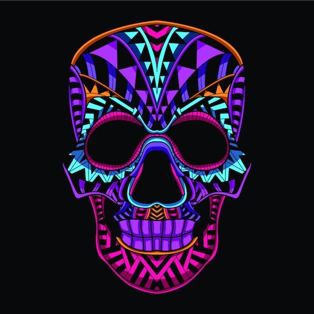 Dekoracyjna czaszka z neonowego koloru Premium Wektorów